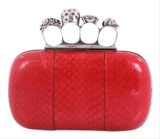 Preload https://img-static.tradesy.com/item/24554281/alexander-mcqueen-knuckle-small-red-python-skin-leather-clutch-0-1-540-540.jpg