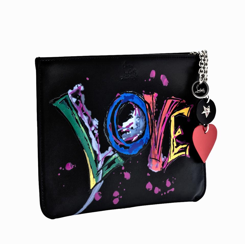 969ccc75924 Christian Louboutin Loubicute Love/ Charms Pouch Black Leather Clutch 16%  off retail