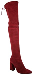 Stuart Weitzman Suede Highstreet Over-the-knee Scarlet Red Boots