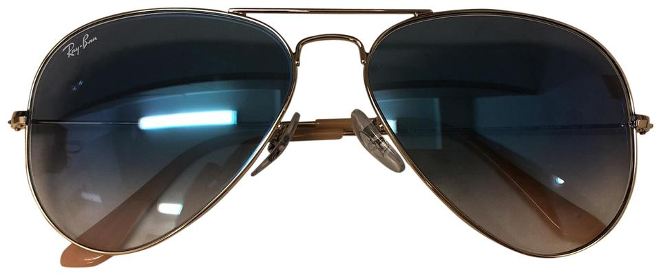 68ae75d0fb8 Ray-Ban Aviator Large Metal Gold Frame with Blue Tint Gradient   RB 3025 ...