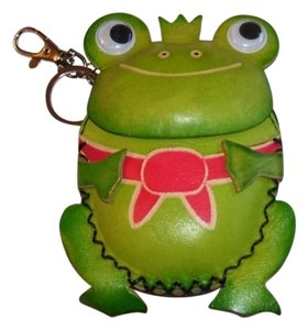 unknown Green Leather Frog Coin Purse With Key Fob