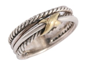 David Yurman Sterling Silver and Gold TWO-TONE NARROW X CROSSOVER RING