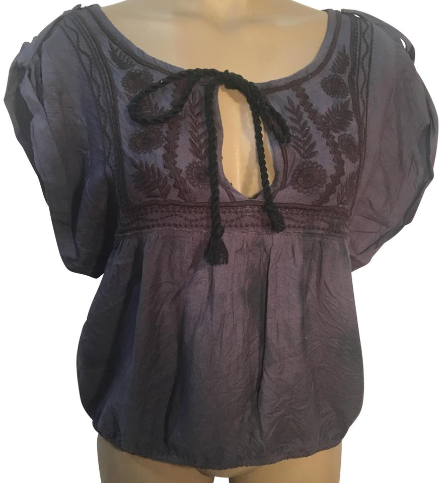 c86fa0a1c2d857 Free People Gray Embroidered Peasant Blouse Size 6 (S) - Tradesy