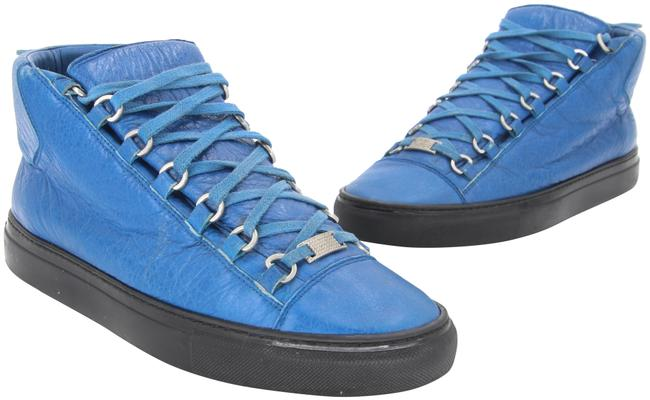 Item - Blue Matte Effect Lambskin Leather Tone-on-tone Laces Men's 8 Sneakers Size EU 41 (Approx. US 11) Regular (M, B)