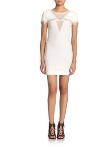 The Kooples short dress White Textured Lace Mesh Crepe Scalloped on Tradesy