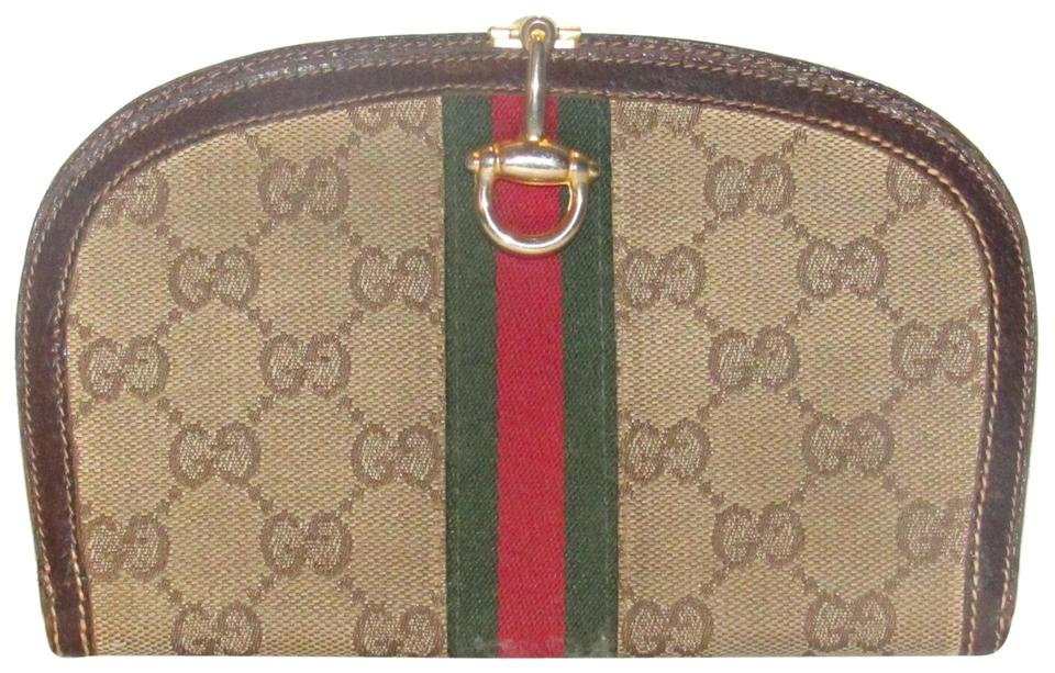 de066123d4d Gucci Brown Large G Logo Print Canvas and Leather with An Inlaid Red ...