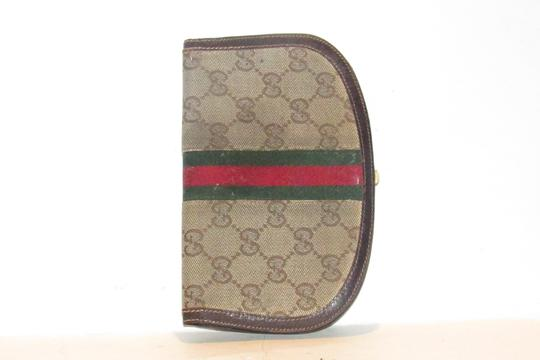 Gucci vintage Gucci horse-bit wallet with Sherry stripe Image 11
