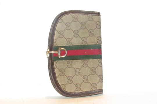 Gucci vintage Gucci horse-bit wallet with Sherry stripe Image 4