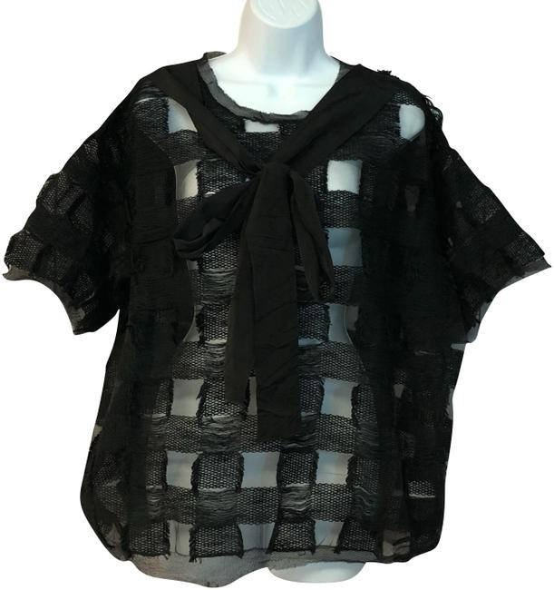 Item - Black Made In Italy Cotton 44 Blouse Size 10 (M)