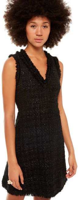 Preload https://img-static.tradesy.com/item/24554852/kate-spade-black-sparkle-tweed-v-neck-a-line-lbd-2018-new-short-night-out-dress-size-2-xs-0-1-650-650.jpg