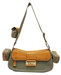 Dior Christian Street Chic Columbus Khaki Canvas Leather Trim Shoulder Bag