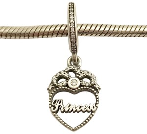 PANDORA Authentic Pandora Princess Crown Heart Dangle Charm, 791962CZ, New