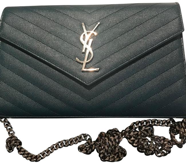 Item - Ysl Wallet On A Chain Peacock Green Leather Shoulder Bag