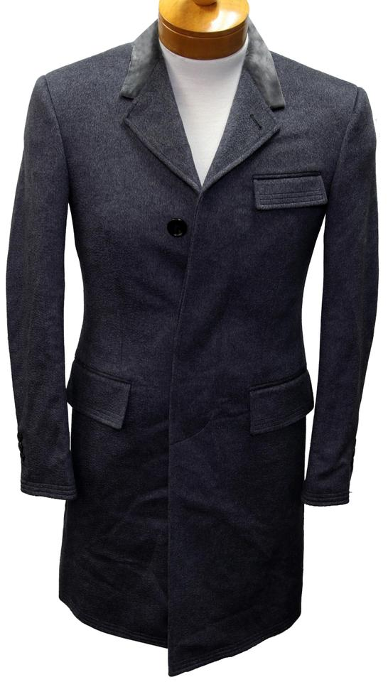 b53075f6aa Thom Browne Grey XS Velvet Collar Classic Chesterfield Men's Overcoat  Jacket Coat