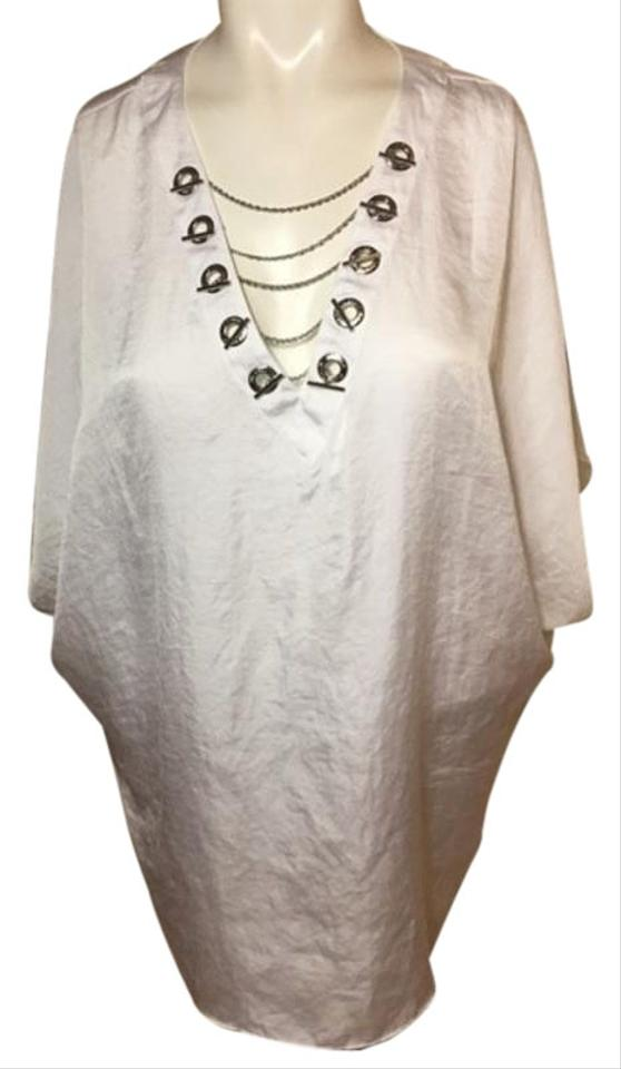 e7f473fe757b6 MICHAEL Michael Kors White Womens Laced Up Silver Color Chain Blouse ...