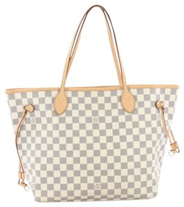 Louis Vuitton Damier Canvas Neverfull Azur Shoulder Bags Tote in White, Blue