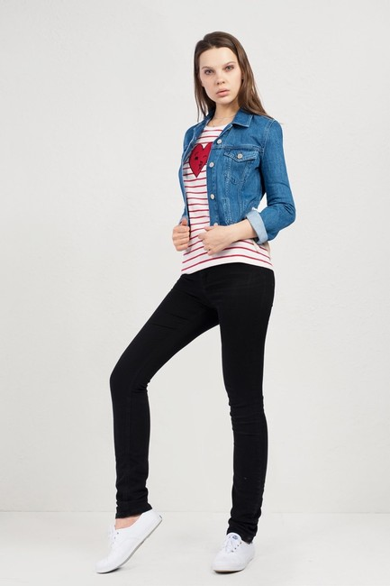 French Connection Lace Top Womens Jean Jacket Image 2