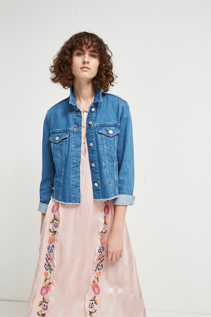 French Connection Lace Top Womens Jean Jacket Image 5