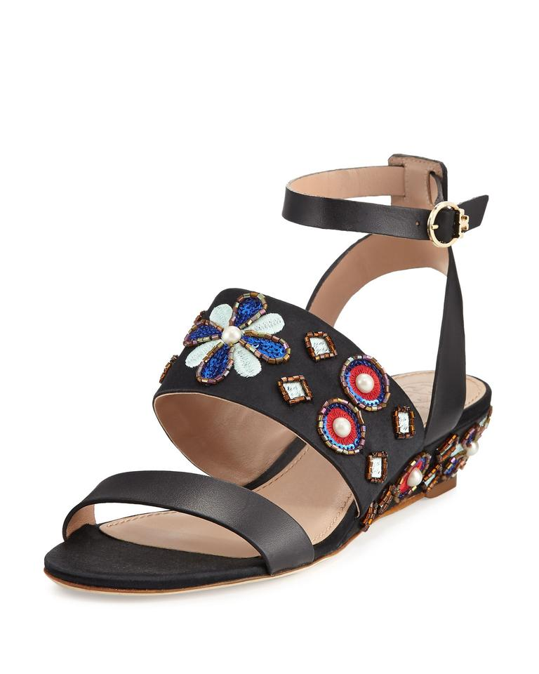 31183efae2 Tory Burch Black Estella Beaded Demi- Wedge Sandals Size US 8.5 ...