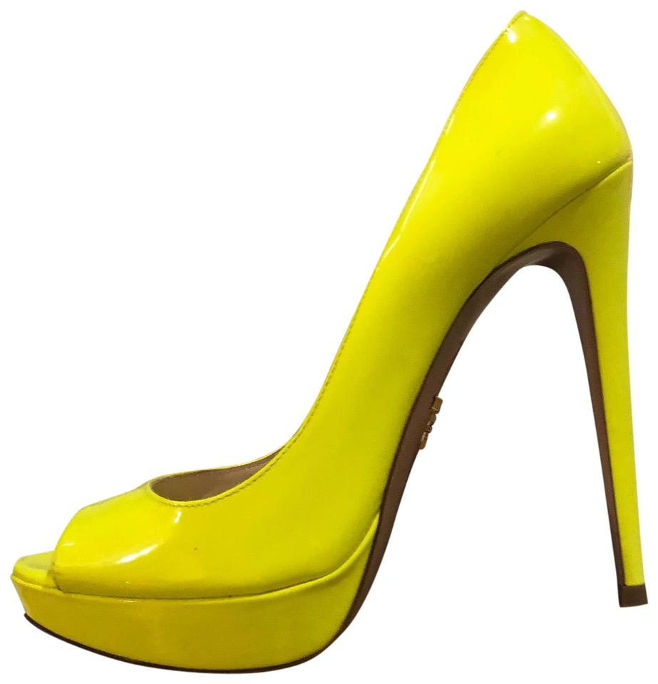 Prada Yellow Neon Peep Toe Heels Platforms Size US 7.5 Regular (M 09f7870e45