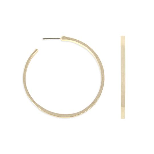 Riah Fashion Hammered Cast Post Hoop Earring Image 0