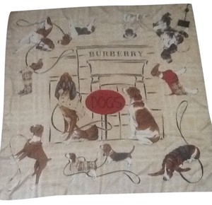 Burberry New with Tags Burberry 100% Silk Dogs Motif Large Scarf