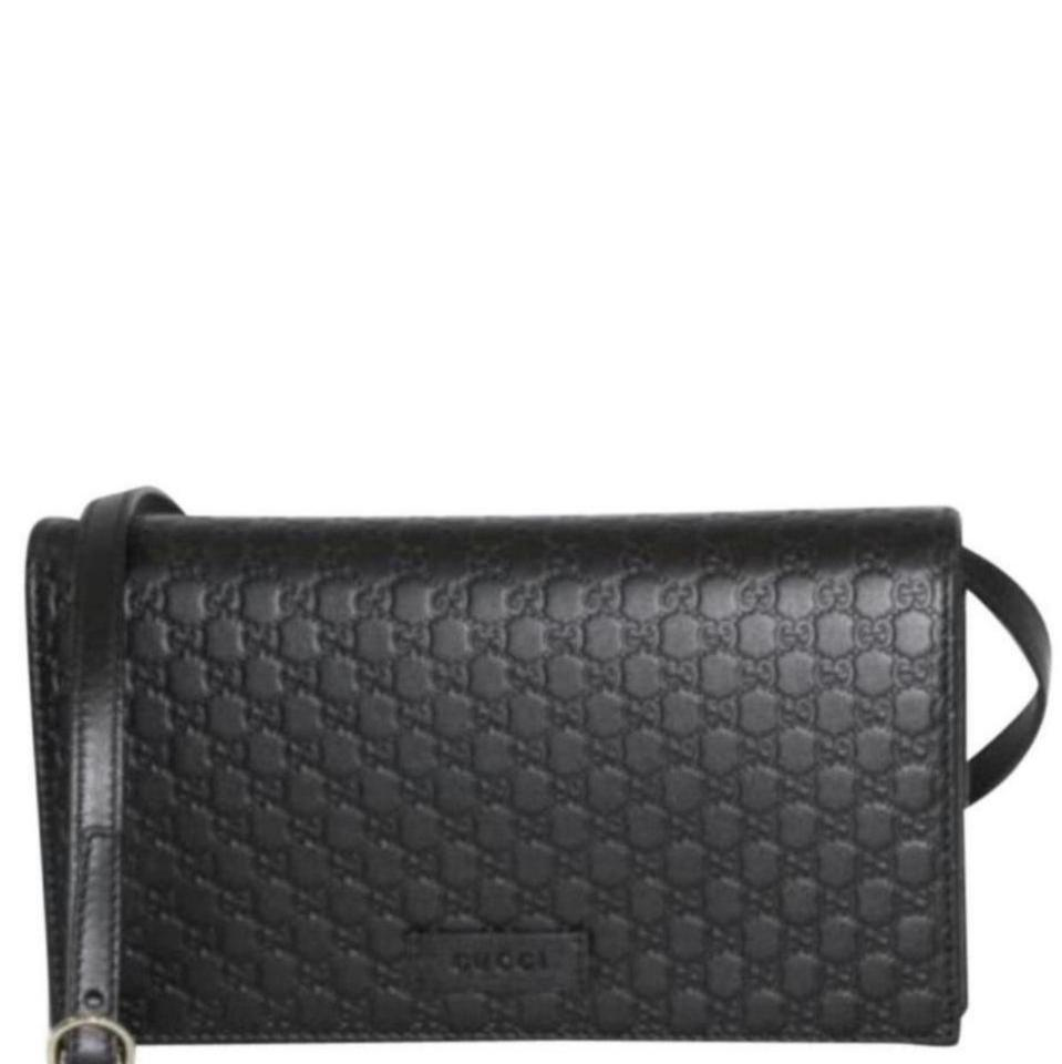 644519cbda31dc Gucci Gg Signature Wallet with Strap Black Leather Cross Body Bag ...