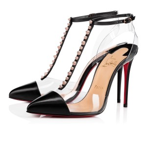 Christian Louboutin Stiletto Classic Patent Nosy Ankle Strap black Pumps
