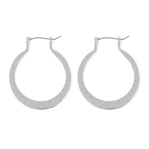 Riah Fashion Hammered Horseshoe Hinge Earrings