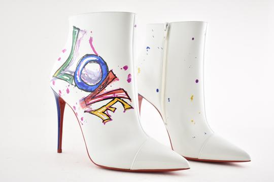 Christian Louboutin Stiletto Ankle Classic Love white Boots Image 3
