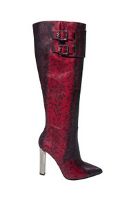 Versace Leather High Heel Python Print Red Boots
