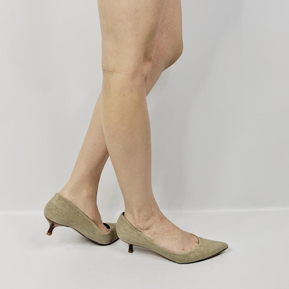 30962a24419bb Stuart Weitzman Tan Linen Metallic Pointed Toe Kitten Heel Pumps Size US  9.5 Regular (M, B) - Tradesy