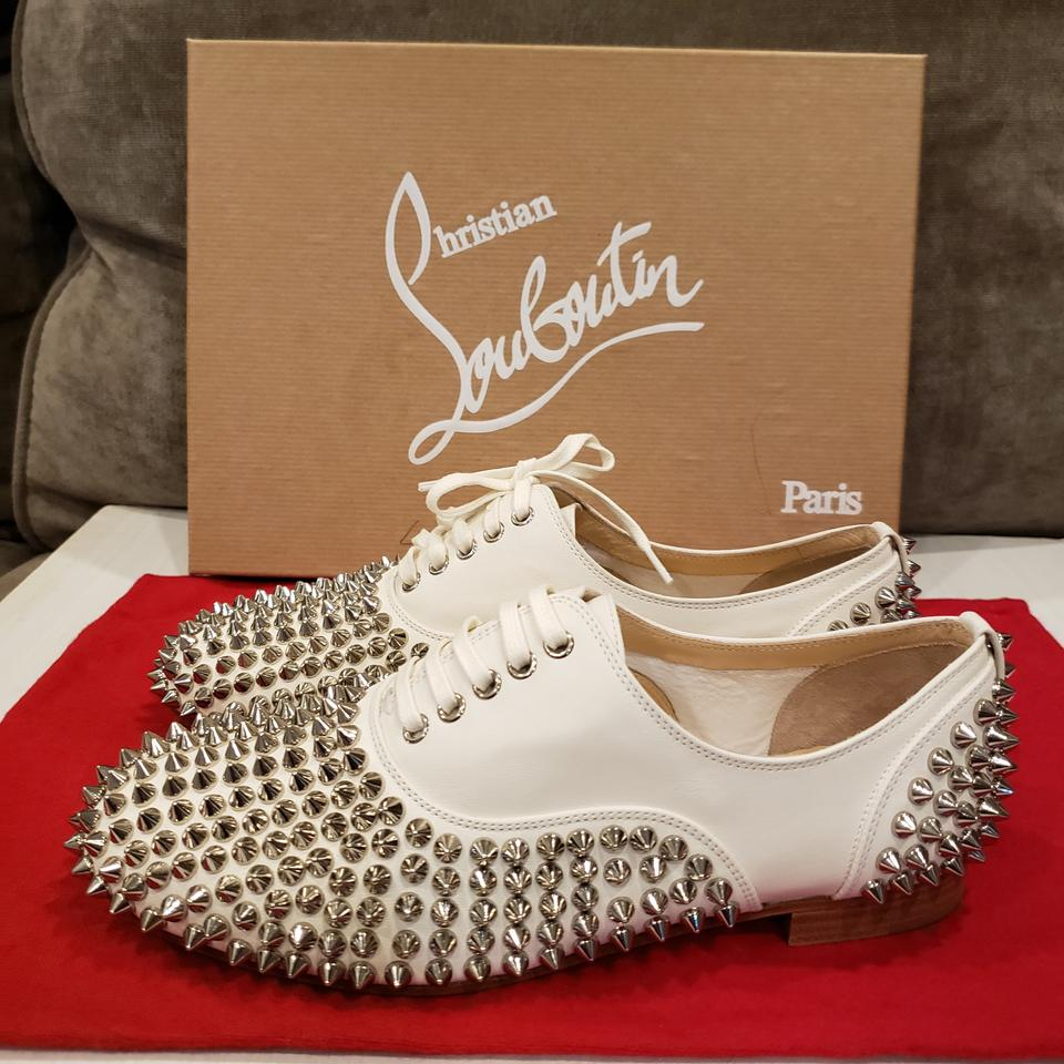 7938da6dc884 Christian Louboutin Spike Studded Oxford White Silver Flats Image 11.  123456789101112
