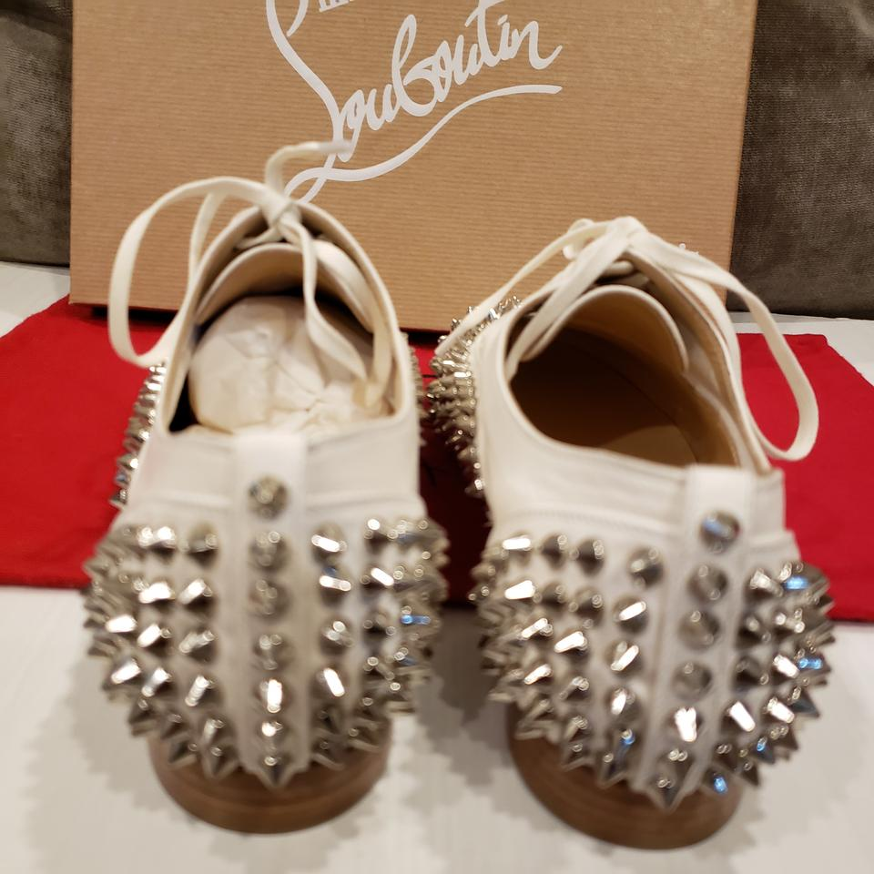 1268ba138d49 Christian Louboutin White Silver Freddy Spiked Studded Leather Lace Up  Oxford Flats Size EU 38 (Approx. US 8) Regular (M