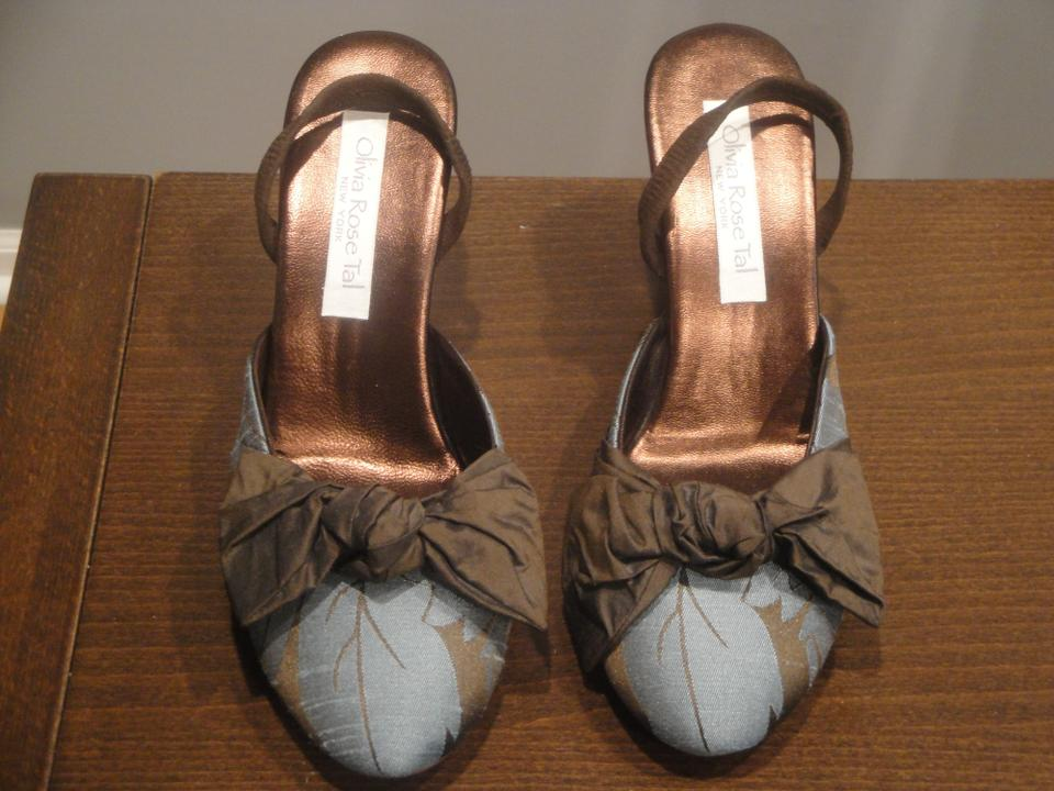 ca4533b3114 Olivia Rose Tal Floral Silk Cocktail Evening Party blue brown Sandals Image  5. 123456