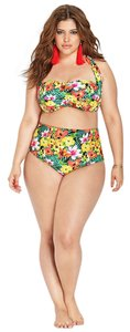 Forever 21 Forever 21+ Plus Halter Top High Waisted Floral Tropical Paradise Bikini Set 1X