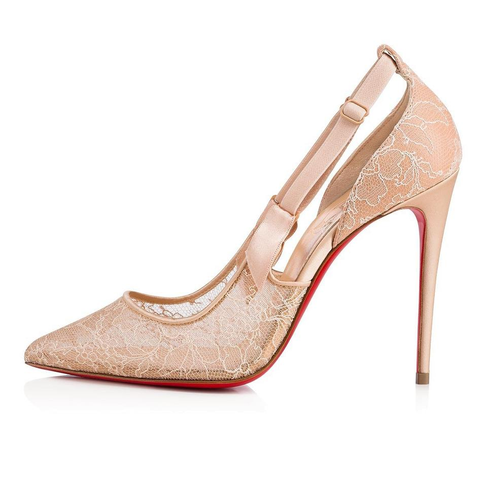 sports shoes 2c5a3 d212d Christian Louboutin Nude Hot Jeanbi 100 Beige Lace Mesh Satin Stiletto  Classic Heel Pumps Size EU 40.5 (Approx. US 10.5) Regular (M, B)