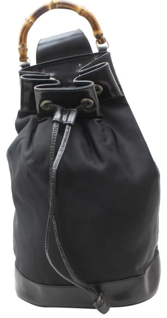 Gucci Backpack Bucket Bamboo Drawstring Sling 869292 Black Nylon Shoulder Bag Gucci Backpack Bucket Bamboo Drawstring Sling 869292 Black Nylon Shoulder Bag Image 1