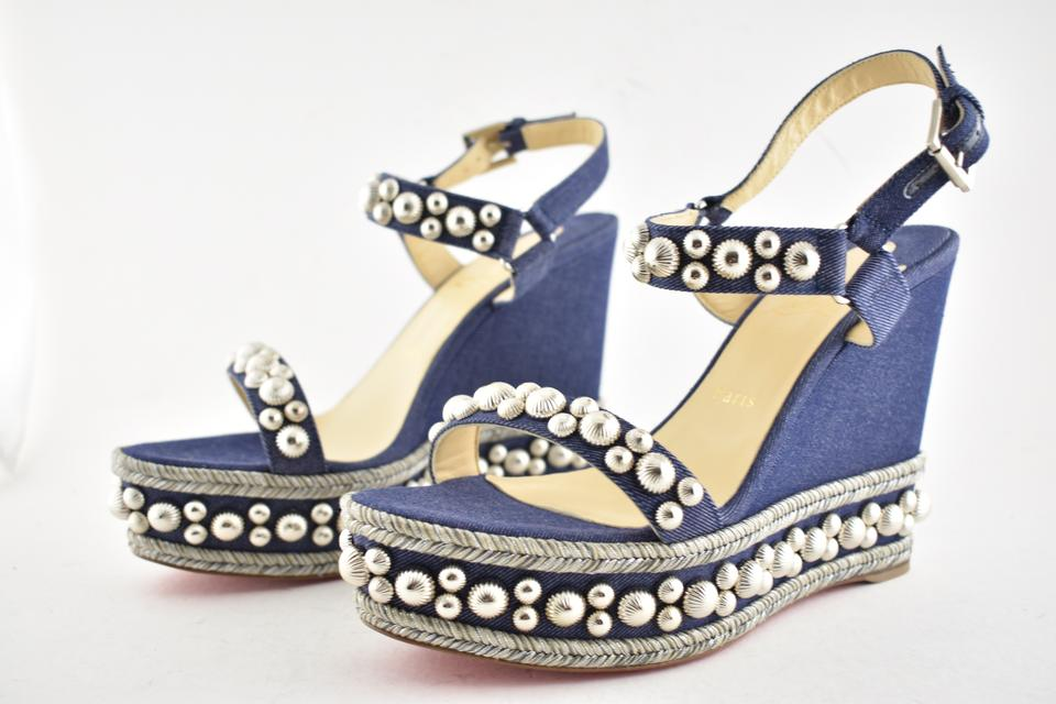 21079302266 Christian Louboutin Pigalle Stiletto Classic Galeria Studded blue Wedges.  123456789101112