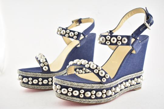 Christian Louboutin Pigalle Stiletto Classic Galeria Studded blue Wedges