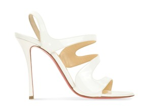 Christian Louboutin Wedding Patent Leather Sling White Sandals