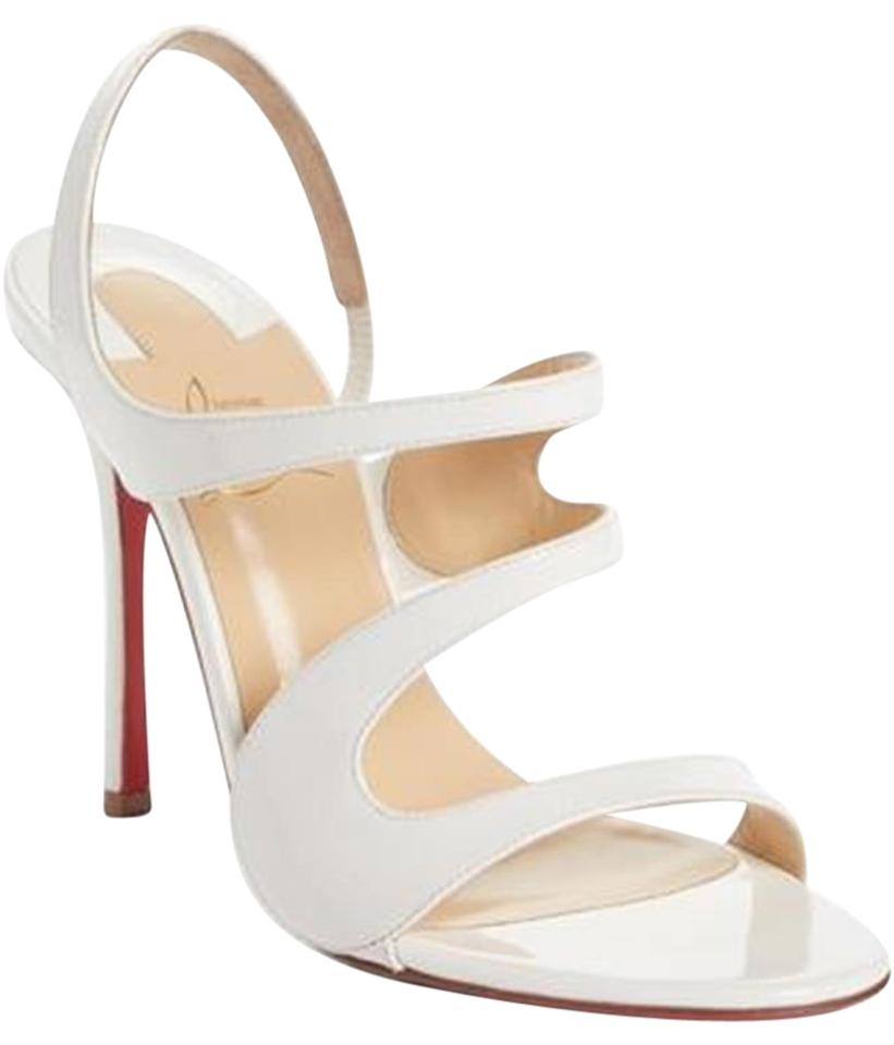 3a22f04285d4 Christian Louboutin White Vavazou 100 Strappy Patent Leather Slingback  Sandals