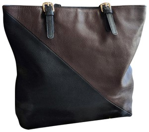 Michelle Vale Colorblock Pebbled Leather Large 22k Gp Accents Tote in Black & Brown