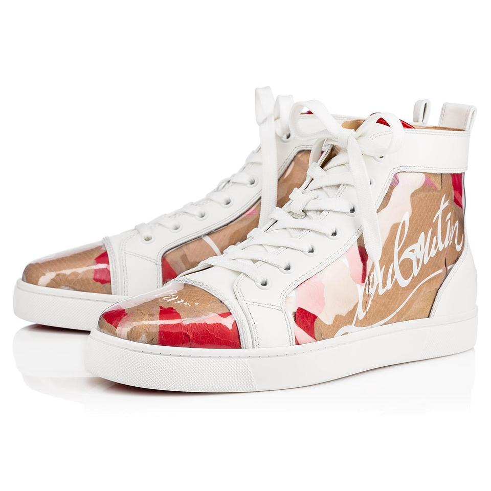 lowest price f8397 18af1 Christian Louboutin White Louis Flat Loubi Kraft Beige Patent Pvc Nude Red  High Top Sneakers Size EU 39 (Approx. US 9) Regular (M, B)