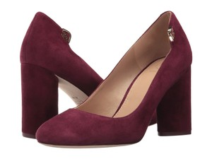 b986a7d21433 Tory Burch Suede Chunky Block Heel Burgundy Red Pumps