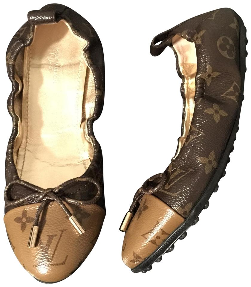 1026ca5d832 Louis Vuitton Brown Flirty Reverse Monogram Lv Ballerina Bow ((Rare   Sold  Out )) Flats
