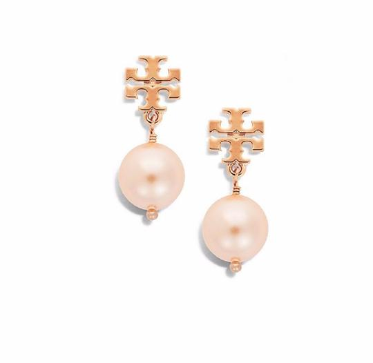 Tory Burch Tory Burch Evie Logo ROSE GOLD Crystal Pearl Drop Earrings 16k Ivory