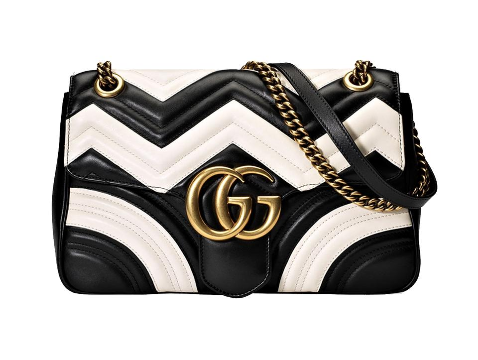 dccdd4066633 Gucci Marmont Medium Gg Chevron Black and White Leather Shoulder Bag ...