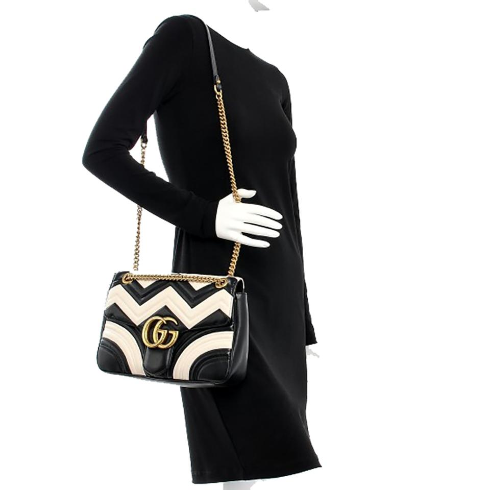 531970a2634 Gucci Marmont Medium Gg Chevron Black and White Leather Shoulder Bag ...