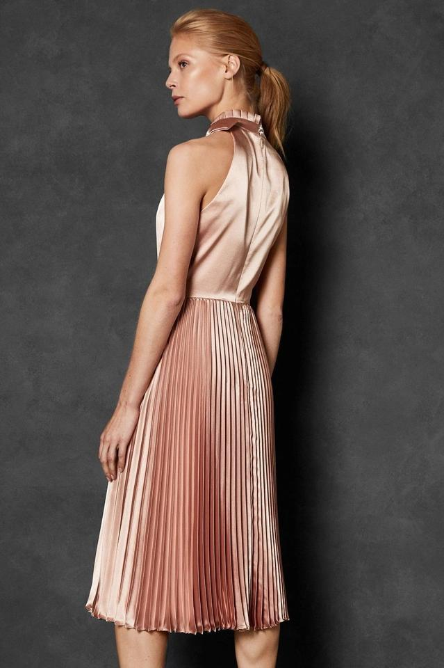 b5226501259 Ted Baker Rose Gold Pink Satin Shineey Bow Pleated Midi Cocktail Mid ...